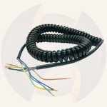 Spiral cable 4 core PUR stripped ends 0,75mm² L= 3.5m.